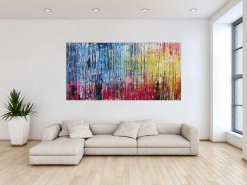 Modernes Acrylbild abstrakt buntes Gemälde mit Spachteltechnik
