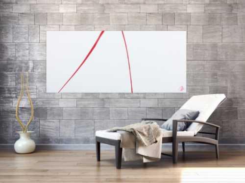 Sehr minimalistisches abstraktes Acrylbild schlichtes Gemälde in rot weiß