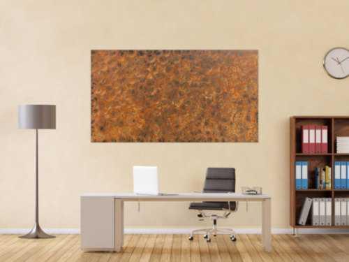 Abstraktes Gemälde aus echtem Rost modernes Rostbild zeitgenössich
