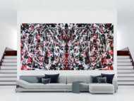 Abstraktes sehr großes Gemälde modern Zeitgenössisch in rot weiß schwarz