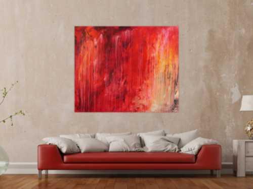 Modernes Gemälde abstrakt mit sehr viel rot und warmen Farben
