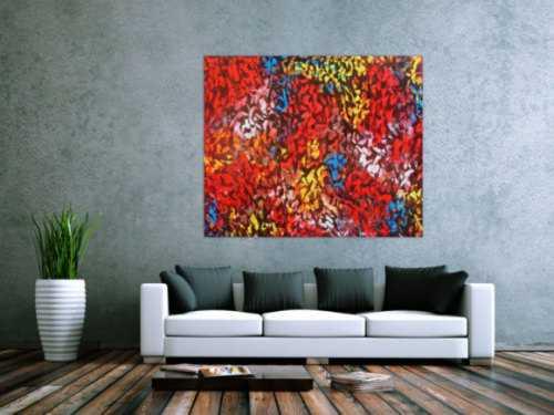 Abstraktes Acrylbild modern bunt zeitgenössisch mit starker Struktur