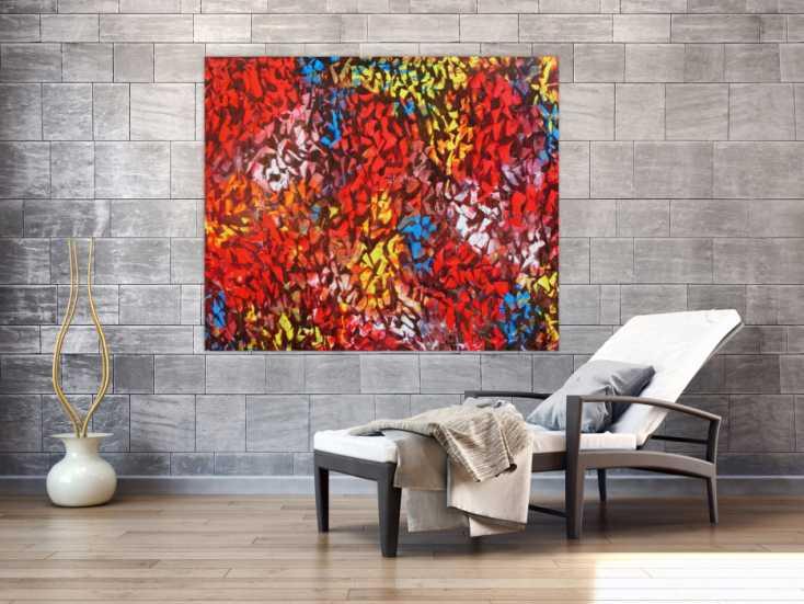abstraktes acrylbild modern bunt zeitgen ssisch mit starker struktur auf leinwand 120x140cm. Black Bedroom Furniture Sets. Home Design Ideas