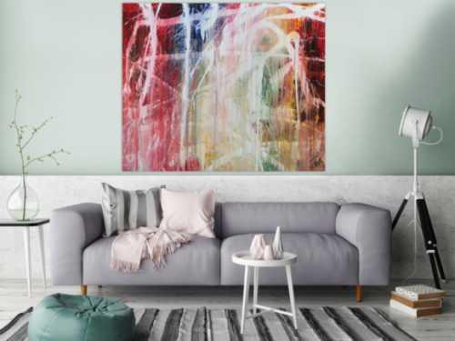 Buntes Acrylbild abstrakt modern mit vielen Farben zeitgenössisch
