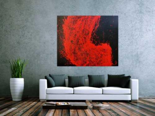 Abstraktes Acrylgemälde minimalistisch in rot schwarz sehr modern