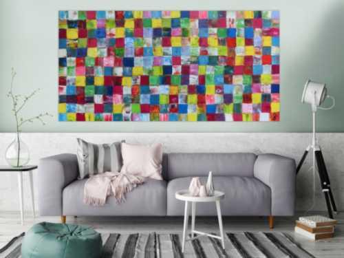 Modernes sehr buntes Gemälde abstrakt bunte Kacheln mit vielen Farben