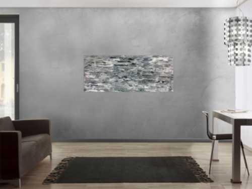 Abstraktes Acrylgemälde schlicht in grau weiß sehr modern