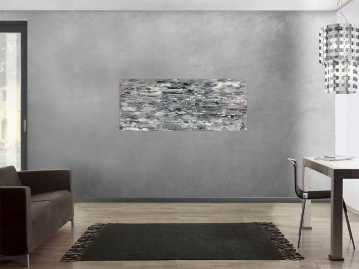 #765 Abstraktes Acrylgemälde schlicht in grau weiß sehr modern 60x150cm von Alex Zerr