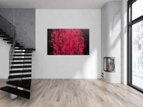 Abstraktes Acrylbild modern minimalistisch in schwarz und pink