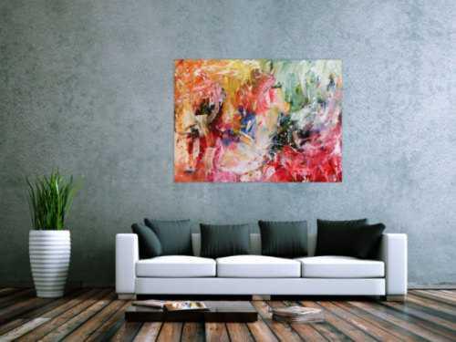 Buntes abstraktes Acrylbild modernes Gemälde mit hellen bunten Farben