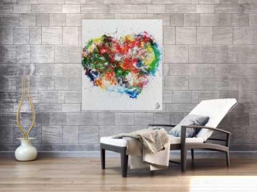 Abstraktes Herz modernes Geälde Acrylbild mit bunten Farben