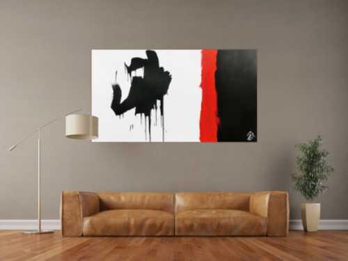 Minimalistisches Gemälde abstraktes Acrylbild in schwarz rot weiß