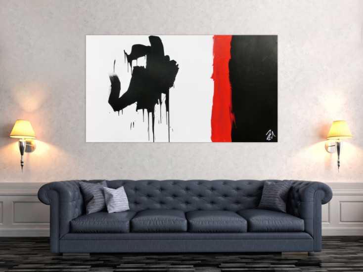 #769 Minimalistisches Gemälde abstraktes Acrylbild in schwarz rot weiß 90x160cm von Alex Zerr