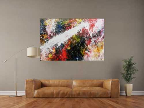 Abstraktes Acrylbild bunt modern Splashstyle Action Painting