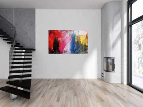 Abstraktes Acrylgemälde mit dunklen und hellen Farben modern drip patinting