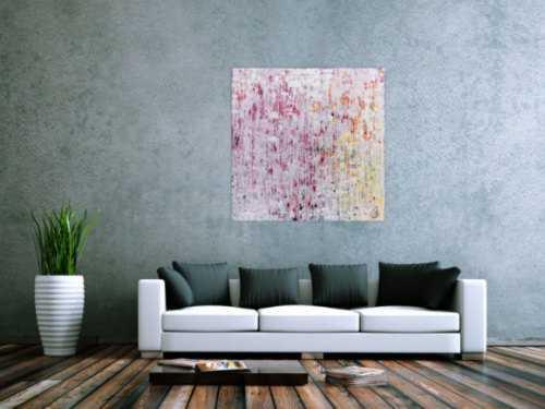 Helles abstraktes Acrylbild modernes Gemälde mit viel weiß