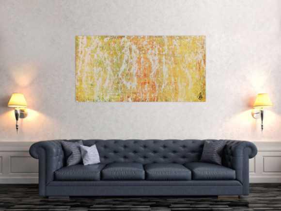 Modernes Gemälde abstrakt mit viel gelb und weiß