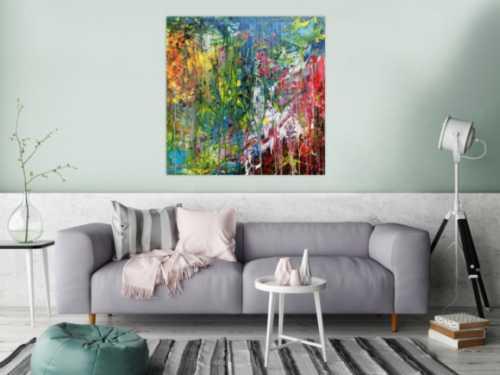 Modernes Acrylbild sehr abstrakt bunt drip painting