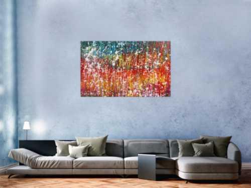 Buntes abstraktes Acrylbild sehr modern mit viel gelb rot und türkis