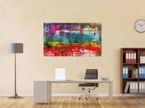 Modernes abstraktes Gemälde Spachteltechnik sehr bunt rot türkis weiß