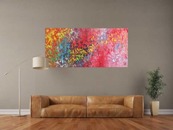 #780 Abstraktes Acrylbild modernes Gemälde bunt mit vielen Farben 75x160cm von Alex Zerr