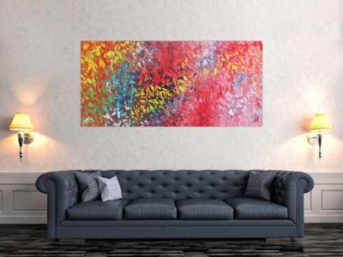 Abstraktes Acrylbild modernes Gemälde bunt mit vielen Farben