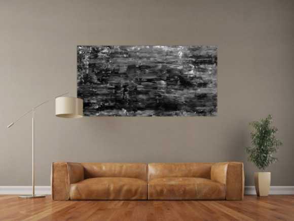 Abstraktes Acrylgemälde schlicht mondern in schwarz weiß grau