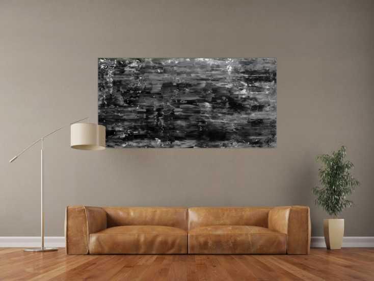Abstraktes Acrylgemälde schlicht mondern in schwarz weiß ...