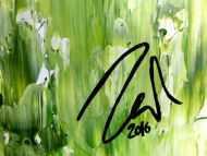 Detailaufnahme Grünes Acrylgemälde abstraktes Acrylbild modern schlich Spachteltechnik