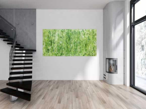 Grünes Acrylgemälde abstraktes Acrylbild modern schlich Spachteltechnik