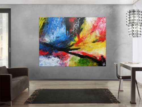 Sehr modernes Acrylgemälde abstrakt bunt viele Farben zeitgenössisch