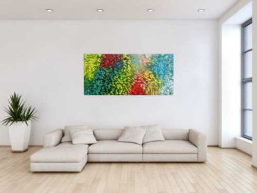 Abstraktes Gemälde sehr bunt modern zeitgenössisch in gelb türkis blau grün und rot