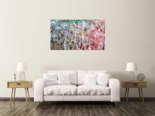 Abstraktes Gemälde mit hellen Farben modernes Acrylbild zeitgenössisch