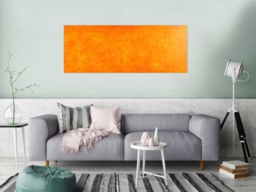 Oranges Acrylbild mit abstraktem Muster