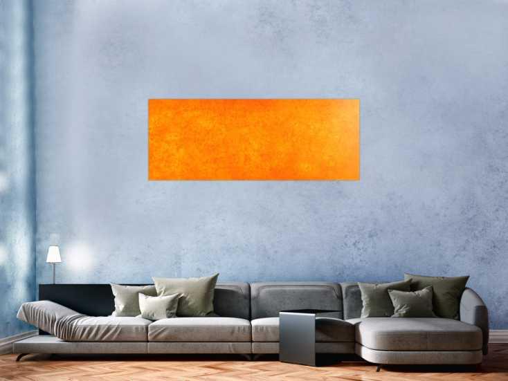 #79 Oranges Acrylbild mit abstraktem Muster 55x150cm von Alex Zerr