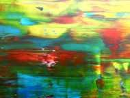 Detailaufnahme Abstraktes Acrylbild modern mit Spachteltechnik sehr bunt