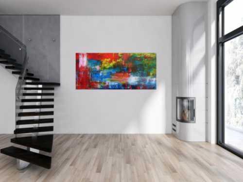 Abstraktes Acrylbild modern mit Spachteltechnik sehr bunt