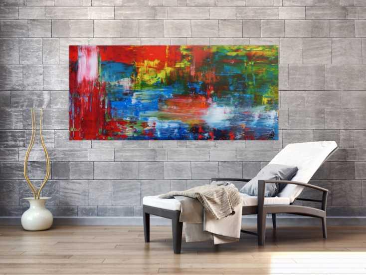 #790 Abstraktes Acrylbild modern mit Spachteltechnik sehr bunt 80x180cm von Alex Zerr