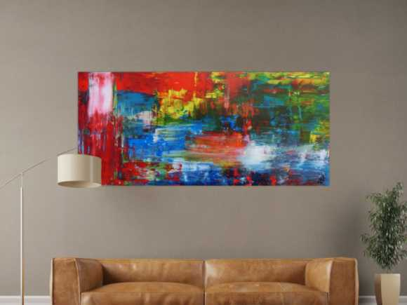 Abstraktes Acrylbild modern mit Spachteltechnik sehr bunt 80x180cm
