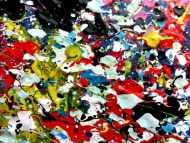 Detailaufnahme Sehr buntes Acrylbild modern abstrakt mit vielen Farben quadratisch