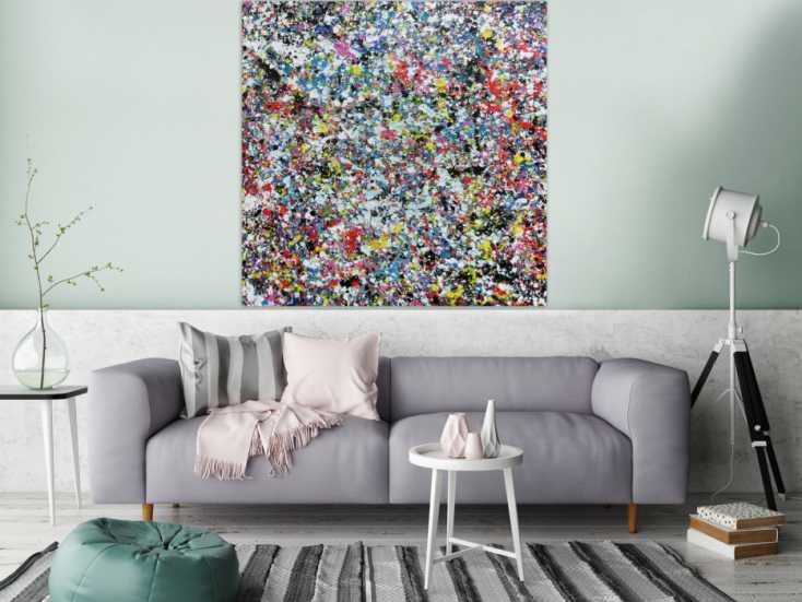 #791 Sehr buntes Acrylbild modern abstrakt mit vielen Farben quadratisch 120x120cm von Alex Zerr