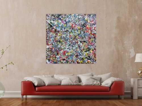 Sehr buntes Acrylbild modern abstrakt mit vielen Farben quadratisch