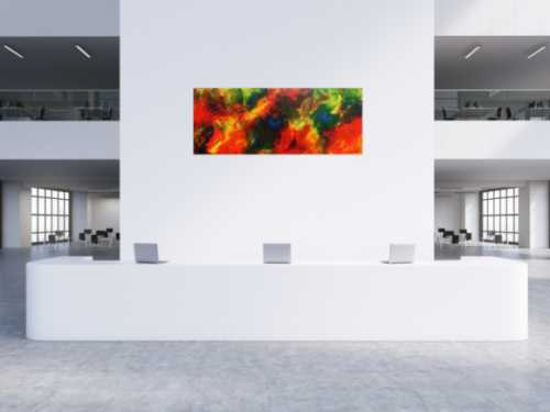 Buntes Acrylbild abstrakt modern in rot gelb blau und grün