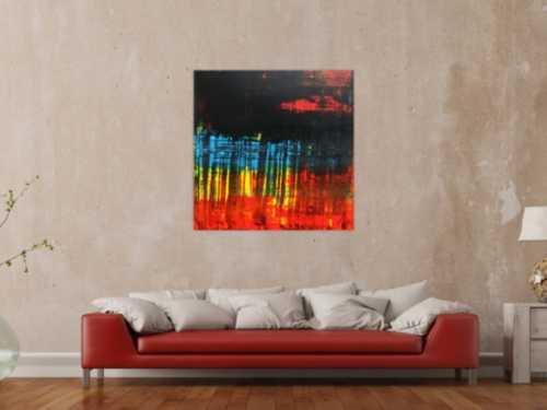 Abstraktes Acrylgemälde dunkel viel schwarz rot blau modern