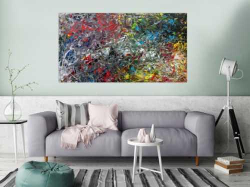 Abstraktes Acrylgemälde modern bunt viele Farben zeitgenössisch