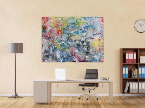 Buntes Acrylbild abstrakt modern zeitgenössisch viele helle Farben