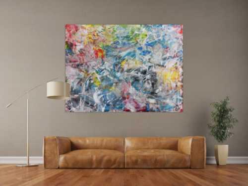 Abstraktes Acrylbild Spachteltechnik sehr modern in gelb rot blau ...