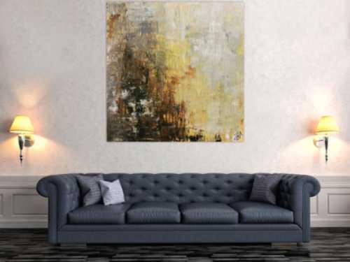 Modernes abstraktes Gemälde schlicht in braun grau weiß Spachteltechnik