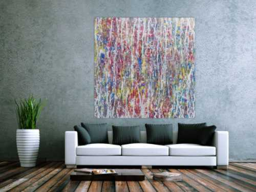Abstraktes Acrylgemälde bunt hell modern schlicht quadratisch