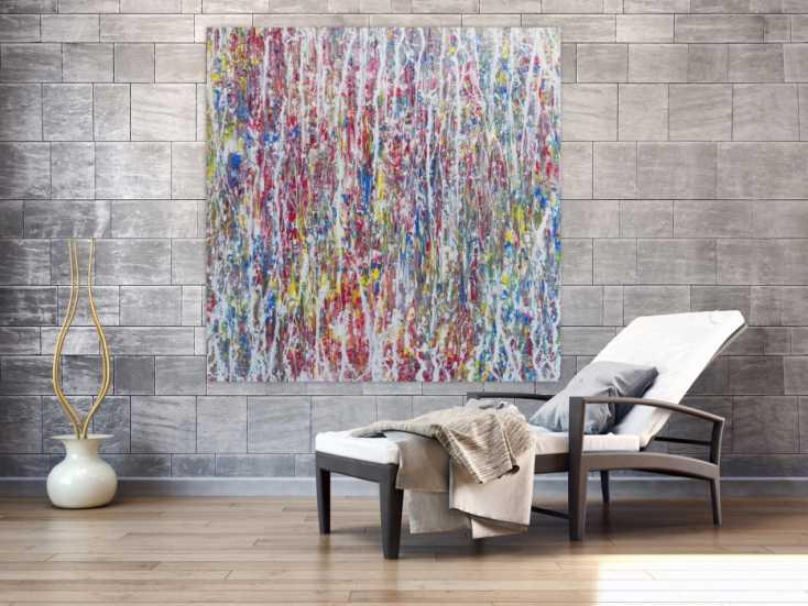 abstraktes acrylgem lde bunt hell modern schlicht quadratisch auf leinwand 140x140cm. Black Bedroom Furniture Sets. Home Design Ideas
